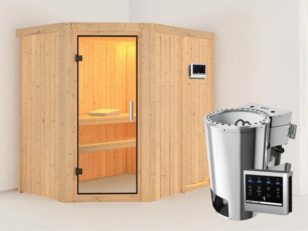 Sauna Systemsauna Saja Klarglas Ganzglastür + Plug & Play Bio-Ofen mit externer Steuerung