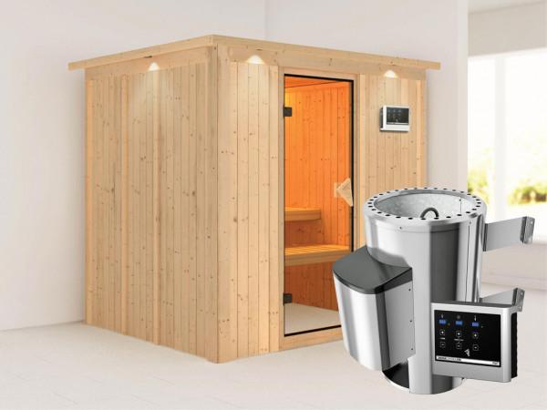 Sauna Systemsauna SPARSET Daria mit Dachkranz, inkl. Plug & Play Saunaofen ext.Strg & Zubehörpaket