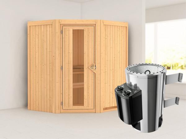 Sauna Systemsauna Tonja Energiespartür + Plug & Play Saunaofen mit Steuerung