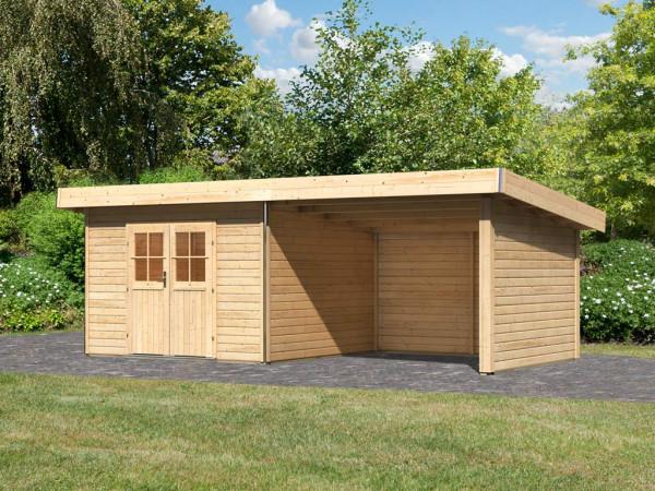 Gartenhaus SET Moosburg 3 40 mm naturbelassen, inkl. 3,3 m Anbaudach + Seiten- und Rückwand