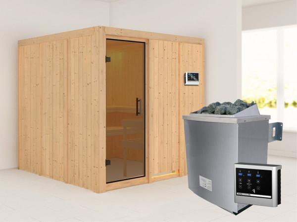 Systemsauna Rodin graphit Ganzglastür, inkl. 9 kW Saunaofen ext. Steuerung