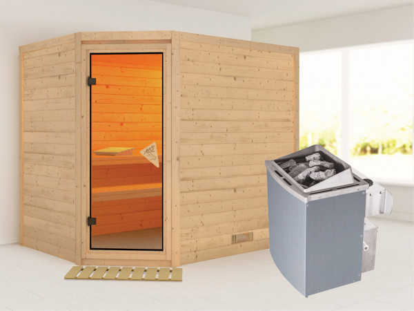 Sauna Massivholzsauna Tanami inkl. 9 kW Saunaofen integr. Steuerung