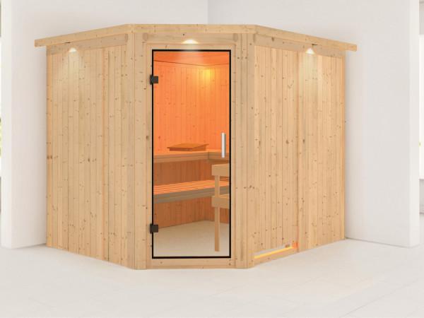 Sauna Systemsauna Malin mit Dachkranz, Klarglas Ganzglastür