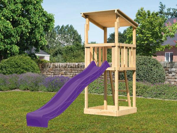 Spielturm SET Anna naturbelassen inkl. Rutsche violett