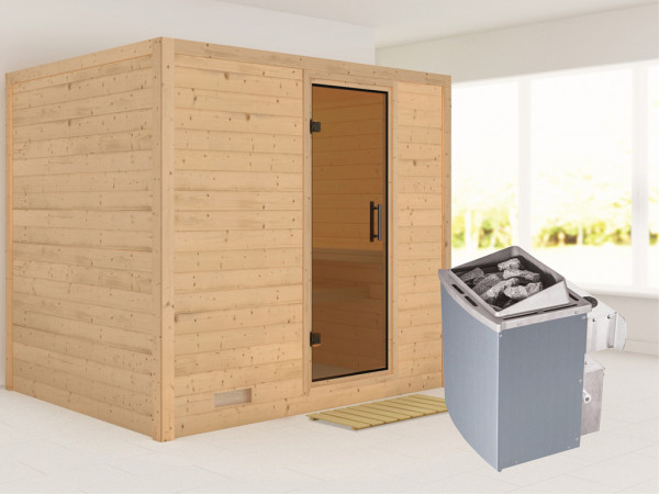 Massivholzsauna Sonara graphit Ganzglastür, inkl. 9 kW Saunaofen integr. Steuerung