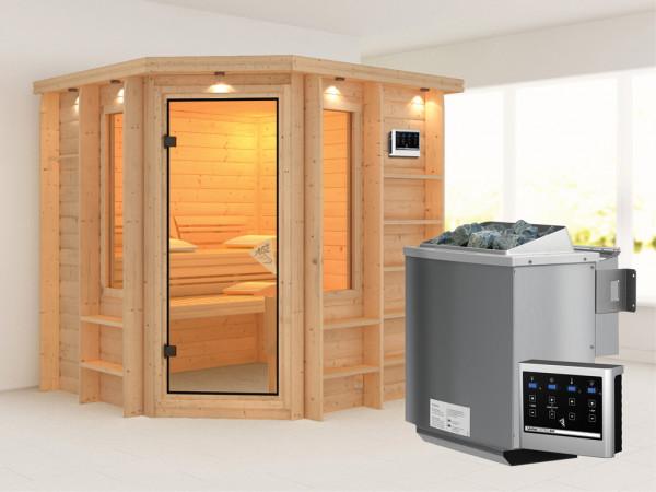 Sauna Massivholzsauna SPARSET Cortona mit Dachkranz, inkl. 9 kW Bio-Kombiofen ext. Steuerung