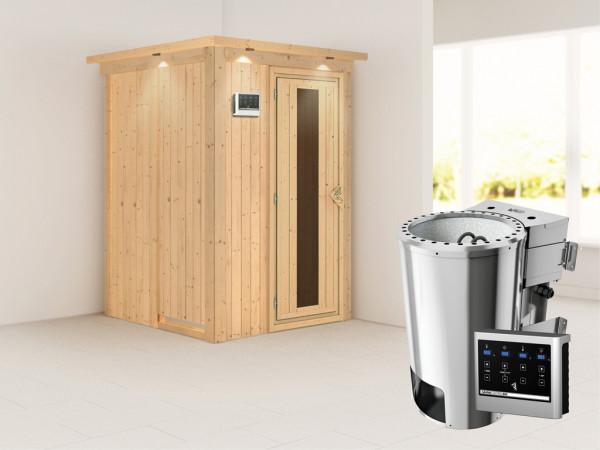 Sauna Systemsauna Lenja mit Dachkranz, Energiespartür + Plug & Play Bio-Ofen mit ext. Steuerung