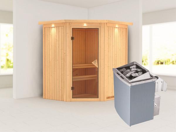 """Systemsauna """"Taurin"""" mit Dachkranz, bronzierte Ganzglastür, inkl. 9 kW Saunaofen integr. Steuerung"""