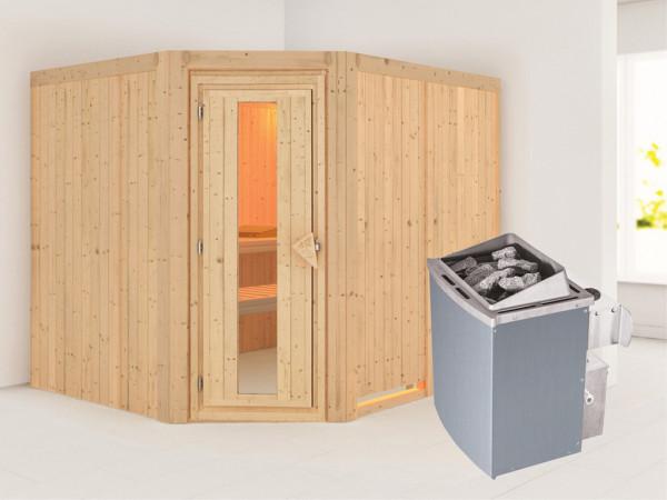 Systemsauna Malin Holztür mit Isolierglas, inkl. 9 kW Saunaofen integr. Steuerung