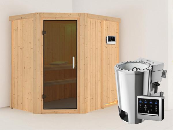 Sauna Systemsauna Saja graphit Ganzglastür + Plug & Play Bio-Ofen mit externer Steuerung
