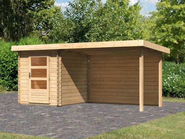 Gartenhaus Blockbohlenhaus SET Bastrup 1 28 mm naturbelassen, inkl. 3 m Anbaudach + Rückwand