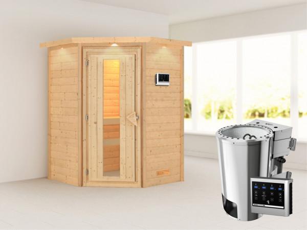 Sauna Massivholzsauna Alicja mit Dachkranz, Energiespartür + Plug & Play Bio-Ofen mit ext.Strg