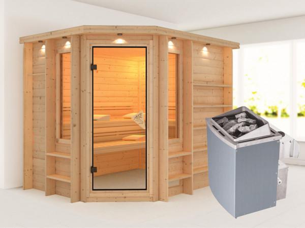 Sauna Massivholzsauna Riona inkl. 9 kW Saunaofen integr. Steuerung