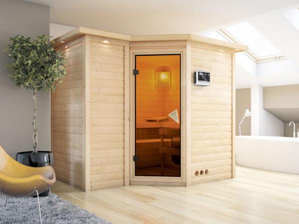 Massivholzsauna Sahib 2 mit Dachkranz, bronzierte Ganzglastür, inkl. 9 kW Bio-Ofen ext. Steuerung
