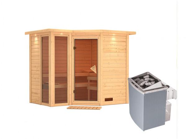 """Sauna Massivholzsauna """"Amara"""" mit Dachkranz inkl. 9 kW Saunaofen integr. Steuerung"""