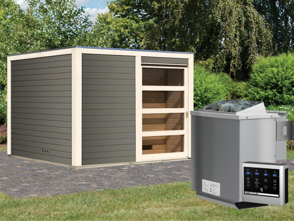 Saunahaus Cuben 38 mm terragrau inkl. 9 kW Bio-Kombiofen ext. Steuerung