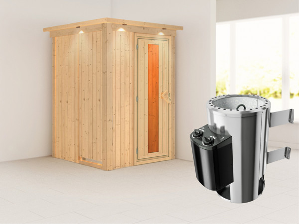 Sauna Systemsauna Lenja mit Dachkranz, Energiespartür + Plug & Play integrierte Steuerung