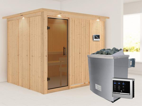 Systemsauna Gobin mit Dachkranz, graphit Ganzglastür, inkl. 9 kW Saunaofen ext. Steuerung