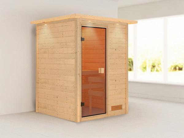 "Sauna Massivholzsauna ""Nadja"" mit Dachkranz"