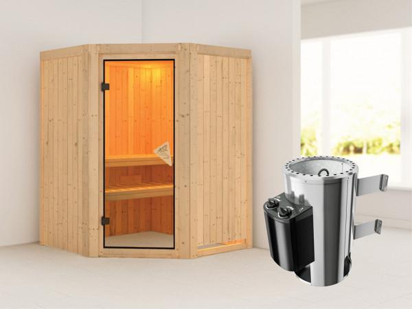 Sauna Systemsauna Nanja inkl. Plug & Play Saunaofen Steuerung