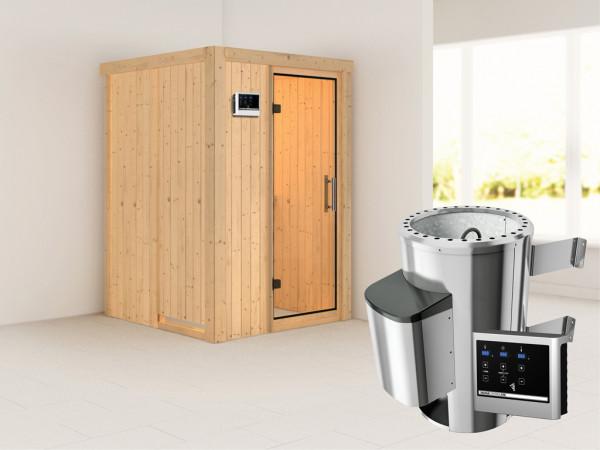 Sauna Systemsauna Lenja Klarglas Ganzglastür + Plug & Play Saunaofen mit externer Steuerung