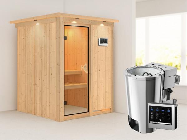 Sauna Systemsauna Minja mit Dachkranz, inkl. Plug & Play Bio-Ofen externe Steuerung