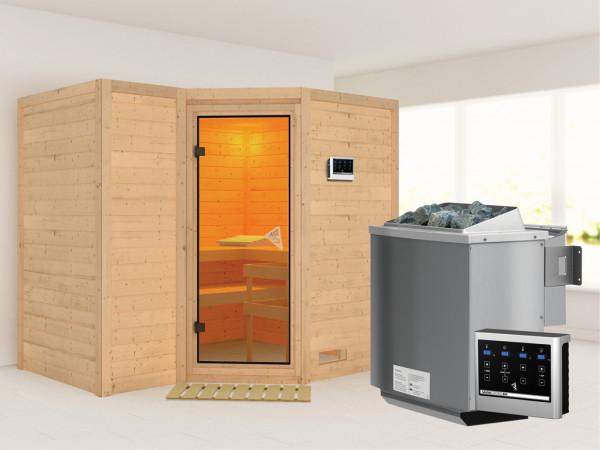 Massivholzsauna Sahib 2 bronzierte Ganzglastür, inkl. 9 kW Bio-Ofen ext. Steuerung
