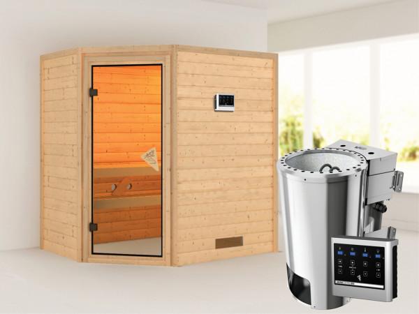 Sauna Massivholzsauna Cilja inkl. Plug & Play Bio-Ofen externe Steuerung