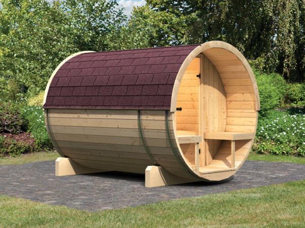Saunafass 2 SPARSET mit Dachschindeln
