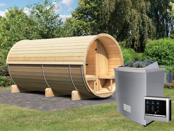 Fasssauna 4 inkl. 9 kW Saunaofen ext. Steuerung