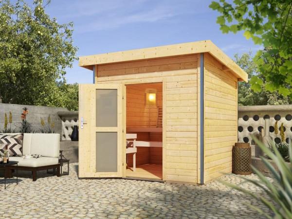 Saunahaus Kroge mit Milchglastür, inkl. 9 kW Saunaofen mit integrierter Steuerung