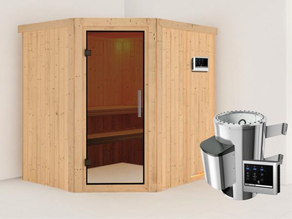 Sauna Systemsauna Lilja graphit Ganzglastür + Plug & Play Saunaofen mit externer Steuerung