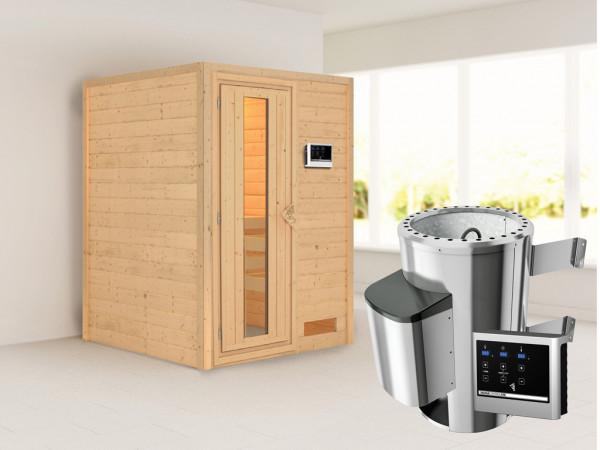 Sauna Massivholzsauna Nadja Energiespartür + Plug & Play Saunaofen mit externer Steuerung