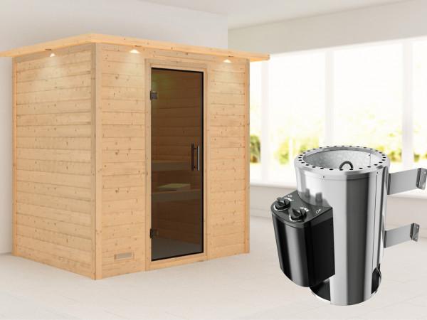 Sauna Massivholzsauna Ronja mit Dachkranz, graphit Ganzglastür + Plug & Play Ofen mit Steuerung