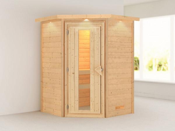 Sauna Massivholzsauna Alicja mit Dachkranz, Energiespartür