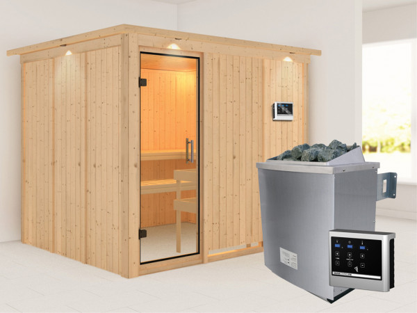 Sauna Systemsauna Gobin mit Dachkranz, Klarglas Ganzglastür + 9 kW Saunaofen mit ext.Strg