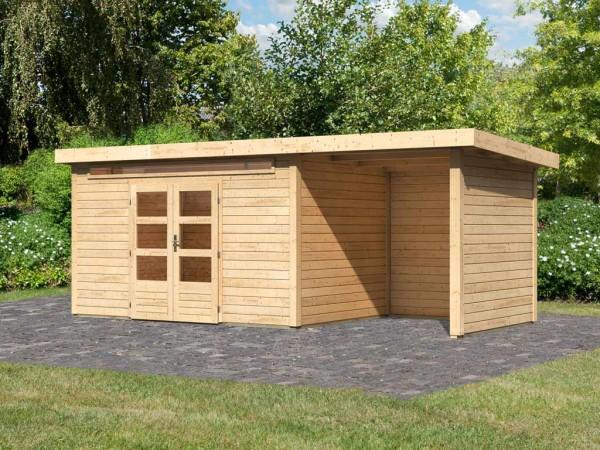 Gartenhaus SET Kandern 7 28 mm naturbelassen, inkl. 2,6 m Anbaudach + Seiten- und Rückwand