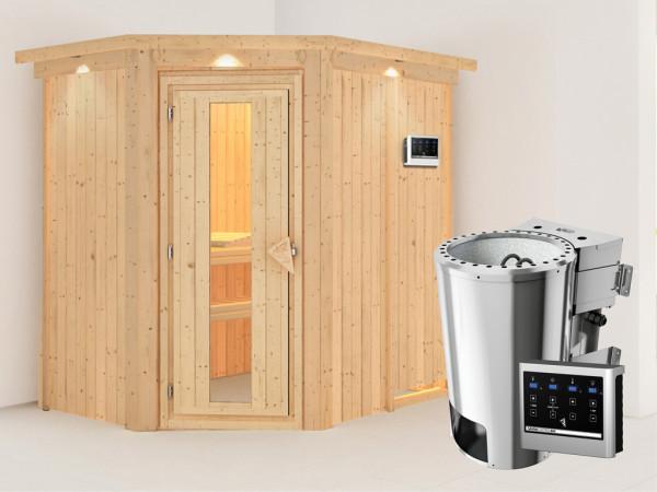 Sauna Systemsauna Saja mit Dachkranz, Energiespartür + Plug & Play Bio-Ofen mit externer Steuerung