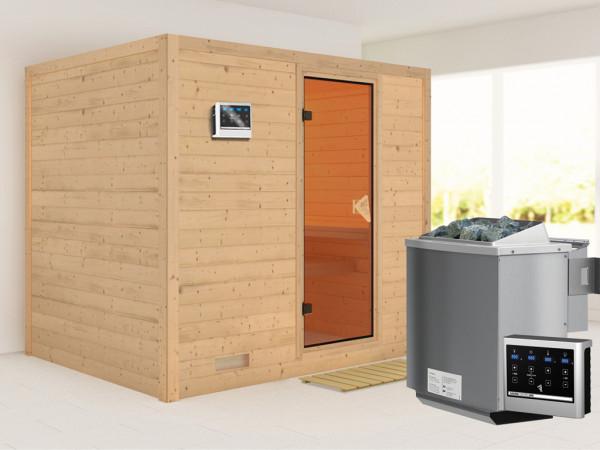 Massivholzsauna Sonara bronzierte Ganzglastür, inkl. 9 kW Bio-Ofen ext. Steuerung