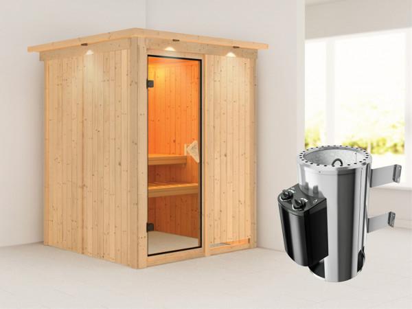Sauna Systemsauna Minja mit Dachkranz, inkl. Plug & Play Saunaofen Steuerung