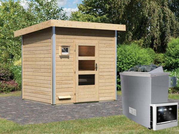 Saunahaus Norge mit Klarglastür, inkl. 9 kW Saunaofen mit externer Steuerung