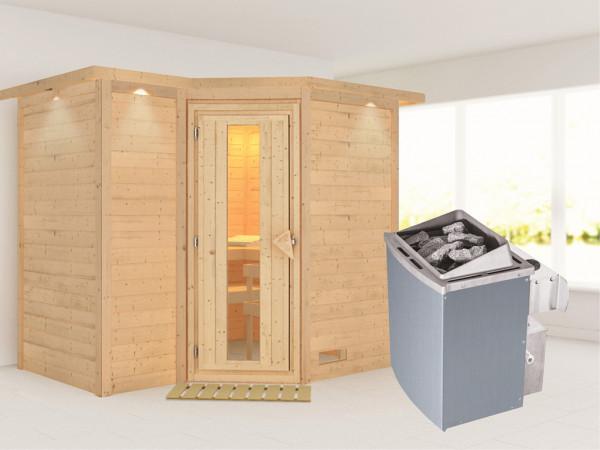 Massivholzsauna Sahib 2 mit Dachkranz, Holztür mit Isolierglas, inkl. 9 kW Ofen integr. Steuerung