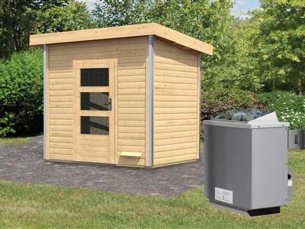 Saunahaus Kroge mit Klarglastür, inkl. 9 kW Saunaofen mit integrierter Steuerung