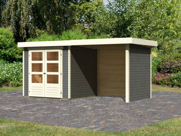 Gartenhaus SET Askola 2 19 mm terragrau, inkl. 2,4 m Anbaudach + Seiten- und Rückwand