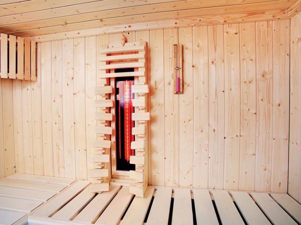 Sauna Rückenstrahler-Set 1, Rückenlehne mit Infrarot Eviva-Strahler