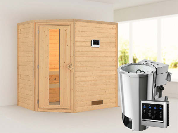 Sauna Massivholzsauna Cilja Energiespartür + Plug & Play Bio-Ofen mit externer Steuerung