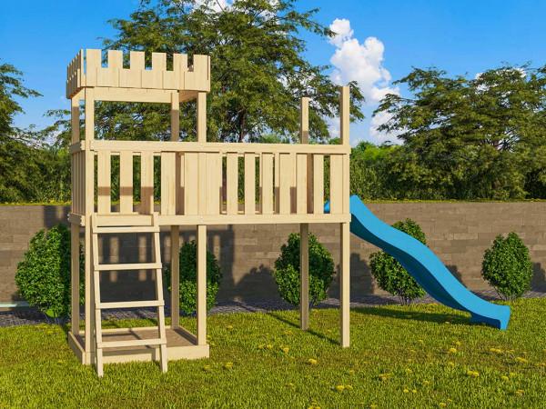 Spielturm SET Ritterburg Löwenherz naturbelassen inkl. Rutsche blau + Anbauplattform XL