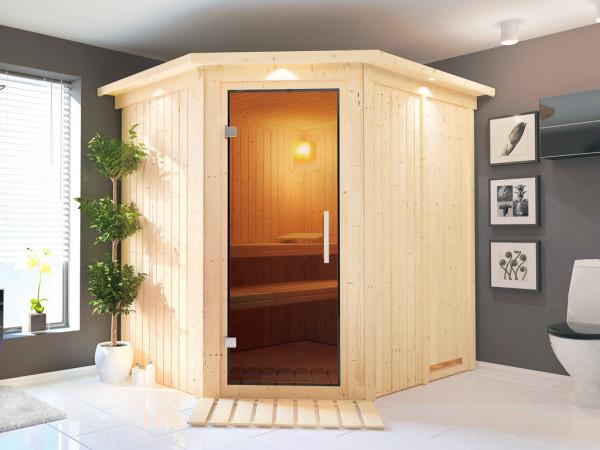 Sauna Systemsauna Lilja mit Dachkranz, graphit Ganzglastür