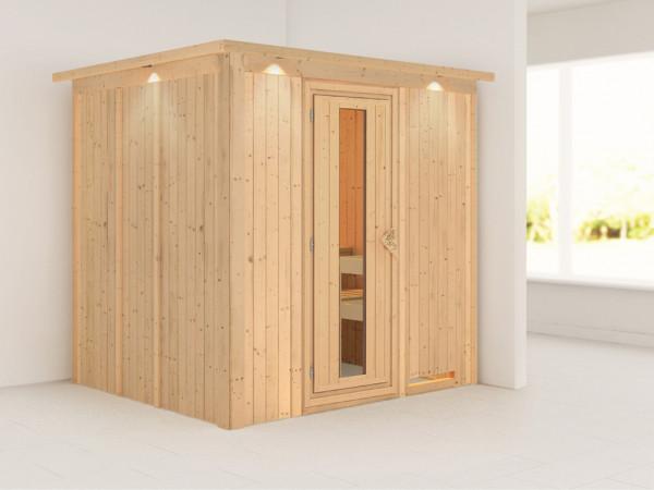 Sauna Systemsauna Daria mit Dachkranz, Energiespartür