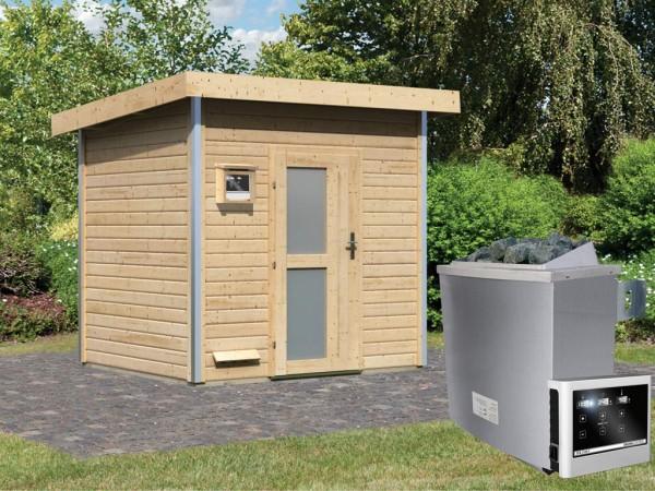 Saunahaus Norge mit Milchglastür, inkl. 9 kW Saunaofen mit externer Steuerung